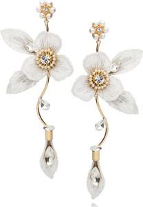 LILY Kolczyki białe kwiaty z kryształkami KLI0001