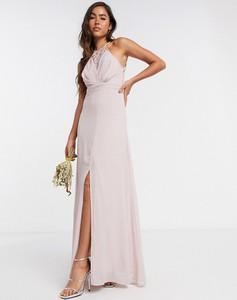Różowa sukienka Tfnc maxi bez rękawów