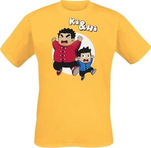 Żółty t-shirt Emp w młodzieżowym stylu z nadrukiem