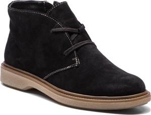 e90f622b73fac Czarne botki Caprice sznurowane z zamszu w stylu casual