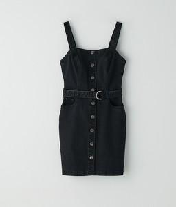 Czarna sukienka Cropp z jeansu na ramiączkach mini