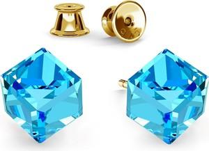 GIORRE SREBRNE KOLCZYKI KOSTKI SWAROVSKI 925 : Kolor kryształu SWAROVSKI - Aquamarine, Kolor pokrycia srebra - Pokrycie Żółtym 24K Złotem