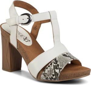 Sandały Caprice z klamrami na wysokim obcasie ze skóry ekologicznej