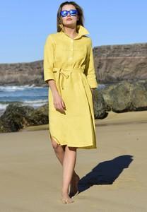 Żółta sukienka Nessi Sportswear koszulowa z długim rękawem