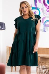 Zielona sukienka KARKO z okrągłym dekoltem z tkaniny mini