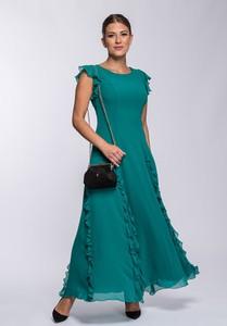 Zielona sukienka Semper maxi z okrągłym dekoltem