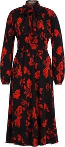 Sukienka Tory Burch z żabotem midi z długim rękawem