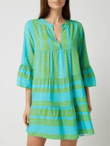 Zielona sukienka miss goodlife z dekoltem w kształcie litery v z długim rękawem koszulowa