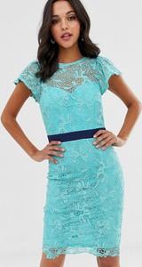 Niebieska sukienka Paper Dolls mini z krótkim rękawem