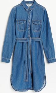 Sukienka Reserved z długim rękawem mini z jeansu