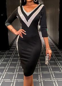 Czarna sukienka Cikelly ołówkowa z długim rękawem z dekoltem w kształcie litery v