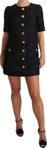 Czarna sukienka Dolce & Gabbana mini z żakardu