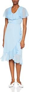 Niebieska sukienka Warehouse z krótkim rękawem w stylu casual midi