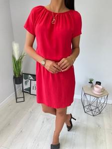 Czerwona sukienka ModnaKiecka.pl hiszpanka prosta w stylu casual