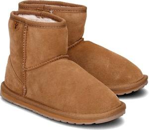 Brązowe buty dziecięce zimowe Emu Australia z zamszu