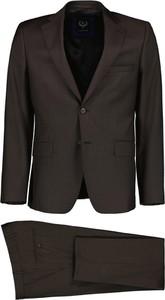 Brązowy garnitur Lavard z wełny
