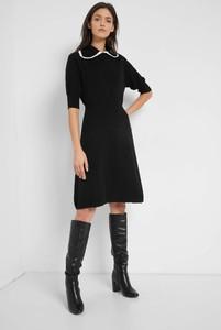 Czarna sukienka ORSAY z kołnierzykiem z długim rękawem z dzianiny