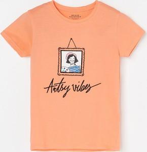 Pomarańczowa koszulka dziecięca Reserved z bawełny z krótkim rękawem