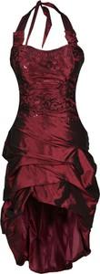 Czerwona sukienka Fokus z okrągłym dekoltem z tkaniny z krótkim rękawem