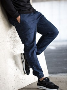 Niebieskie jeansy Equalizer z żakardu