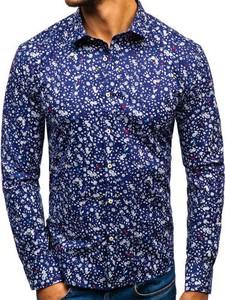 Granatowa koszula Denley z długim rękawem w street stylu