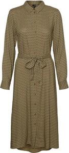 Brązowa sukienka WARESHOP z długim rękawem