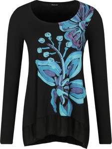 Bluzka Desigual w stylu casual z długim rękawem z okrągłym dekoltem