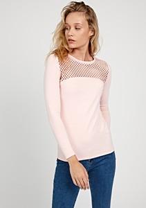 Różowy t-shirt Gate z długim rękawem