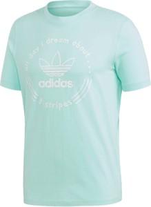 Miętowy t-shirt Adidas