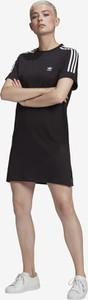 Czarna sukienka Adidas Originals z bawełny z okrągłym dekoltem mini