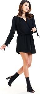 Czarna sukienka Awama mini trapezowa w stylu boho