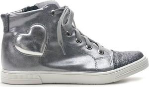 Srebrne buty dziecięce zimowe Kornecki sznurowane