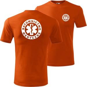 Pomarańczowy t-shirt TopKoszulki.pl z bawełny