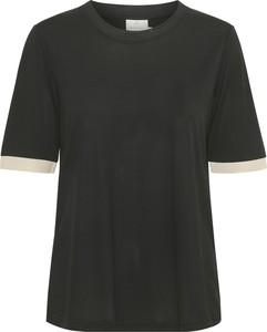 Czarny t-shirt Kaffe z krótkim rękawem z okrągłym dekoltem