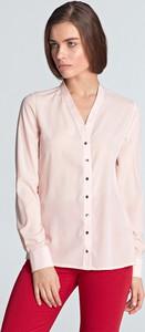 Różowa bluzka NIFE z długim rękawem