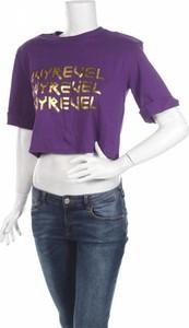 Fioletowa bluzka Ivyrevel z okrągłym dekoltem z krótkim rękawem