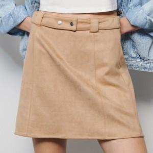 Brązowe spódnice z zamszu, kolekcja lato 2020