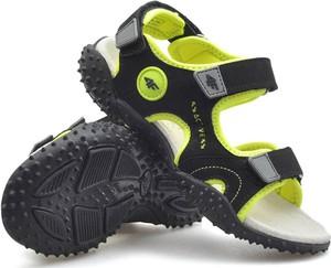 Czarne buty dziecięce letnie 4F ze skóry na rzepy