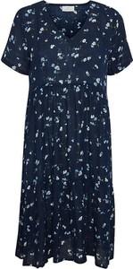 Sukienka Kaffe z bawełny z dekoltem w kształcie litery v w stylu casual