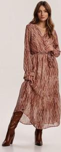 Brązowa sukienka Renee z długim rękawem kopertowa
