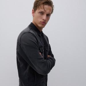 Czarna kurtka Reserved krótka z jeansu w stylu casual