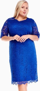 Niebieska sukienka Fokus midi z okrągłym dekoltem z długim rękawem