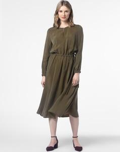Brązowa sukienka Drykorn midi w stylu casual rozkloszowana