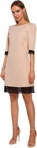 Sukienka MOE mini z okrągłym dekoltem z długim rękawem
