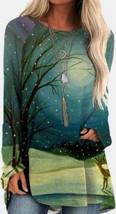 Bluzka Cikelly z okrągłym dekoltem z długim rękawem