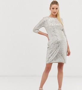 Srebrna sukienka Tfnc Maternity z okrągłym dekoltem