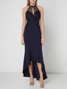 Granatowa sukienka Lipsy bez rękawów w stylu glamour