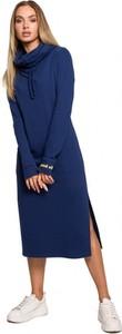 Granatowa sukienka MOE z długim rękawem z bawełny z golfem