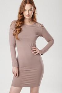 Brązowa sukienka born2be mini z okrągłym dekoltem dopasowana