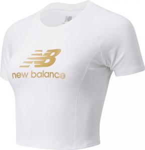 Bluzka New Balance z bawełny z okrągłym dekoltem w sportowym stylu